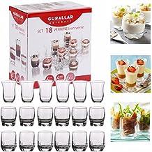 Set de 18vasos de postre, cuencos para aperitivos, para mini shot, vasos de cristal
