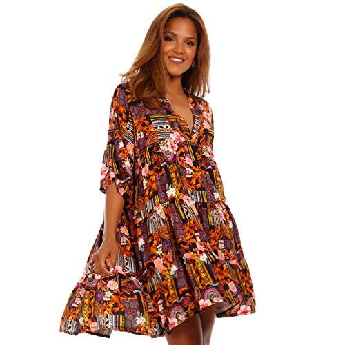 YC Fashion & Style Damen Tunika Kleid mit Patchwork Muster Boho Look Partykleid Freizeit Minikleid oder Strandkleid HP219 Made in Italy (One...