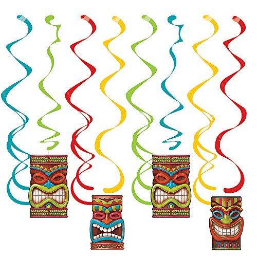 (Neu 2018: 4-TLG. Decken-Deko * Tiki TIME * als Deko zur Hawaii- & Südsee-Mottoparty // Maori Party Geburtstag Kindergeburtstag Dizzy Dangler Swirl)