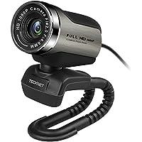 HD Webcam, Tecknet 1080P Plug-and-Play-Webkamera mit Noise-Cancelling-Mikrofon für Videotelefonie und Aufzeichnung, Skype, YouTube, Stream-Cam für PC, Laptops und Desktop