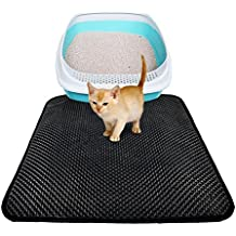 Alfombrilla para Gatos Alfombra de Panal Cojín de Caja para Arena de Gatos CGBOOM Premium Impermeable Cat Litter Mat de EVA para Perros de Happilax 55x75 cm Negro