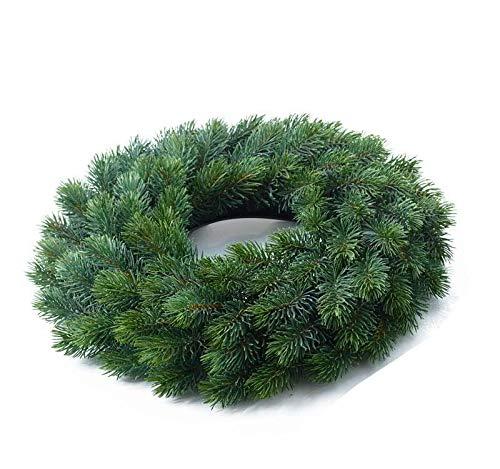 Weihnachtlicher & Hochwertiger Tannenkranz/Klassischer Türkranz - Medium: Ø 40cm - Weihnachtskranz/Hängekranz / Tischkranz - Künstlicher Kranz Tanne - Weihnachten/Wunderschöne Weihnachtsdeko