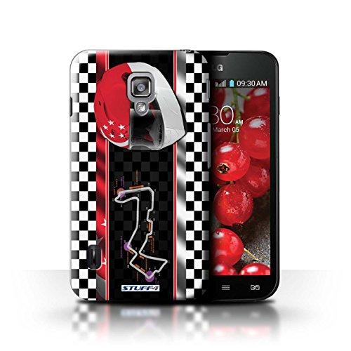 Kobalt® Imprimé Etui / Coque pour LG Optimus L7 II Dual / USA/Austin conception / Série F1 Piste Drapeau Singapour