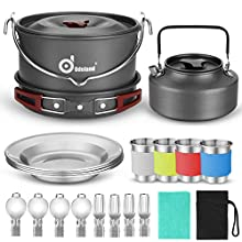 Odoland Camping Cookware Kit for 3-4 People Portable Stainless steel Cooking Set for Campfire Backpacking Pans and Pots Plates Kettle Gear for Outdoor Hiking Picnic and Trekking