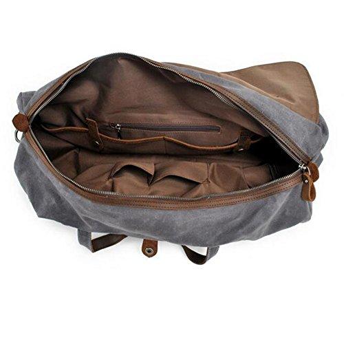 Wasserdicht Canvas Reisetasche Herren Gewachst Segeltuch Weekender Handtasche Schultertasche Sporttasche Groß Stabil Duffel Tasche von Mupack (XXL 2 in 1 Carry-ons Grau) Armeegrün