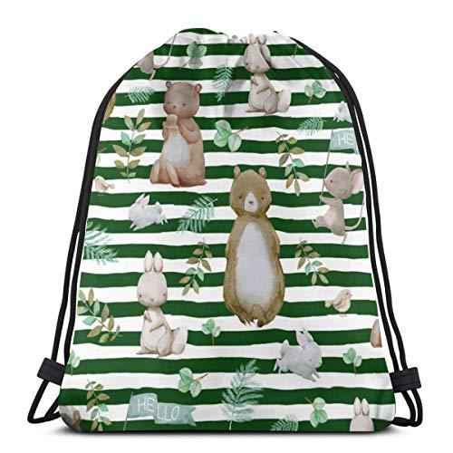 beautiful& 8 Hello Forest Animals - Hunter Green Stripes_11975 3D Print Drawstring Backpack Rucksack Shoulder Bags Gym Bag for Adult 16.9