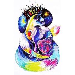 Justfox - Tatuaje temporal, diseño de gato multicolor, tatuaje adhesivo temporal, arte corporal