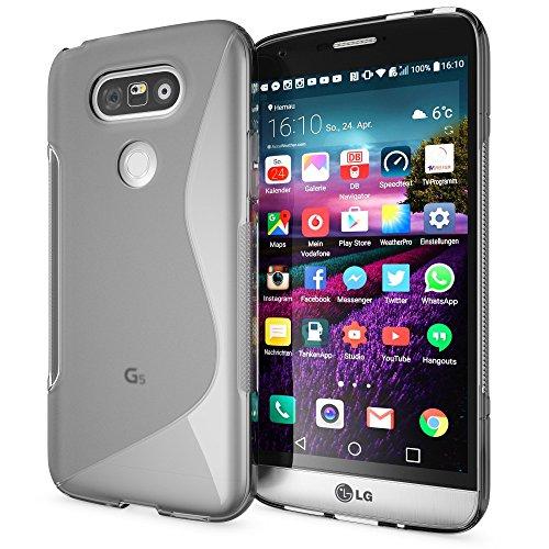 delightable24 Schutzhülle Hülle Cover Case TPU Silikon LG G5 Handyhülle - S-Line Grau