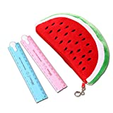 1 Stück Wassermelone Form Stift Bleistift Tasche Fall und 2 Stück Faltbare Lineal Süßigkeiten Farbe Multifunktions Zeichnung Studenten Lineal Schulbedarf Set