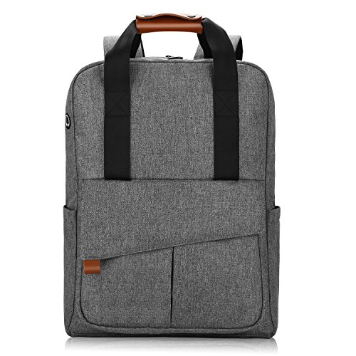 REYLEO Backpack Business Laptop Bag 15.6 Anti-theft Rucksack Casual Daypack with Leather Handle for Women Men – 24L / Light Grey