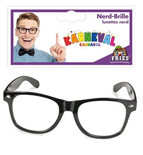 Nerd-Brille Nerd Brille schwarz Fasching Accessoire