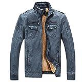 Herren Klassische Herbst Winter Warm Bomber Dicke Retro Vintage Gewaschen Leder Biker Motorrad Jacken Mäntel Lederjacke jacket (Blau, DE 2XL(Tag 3XL))