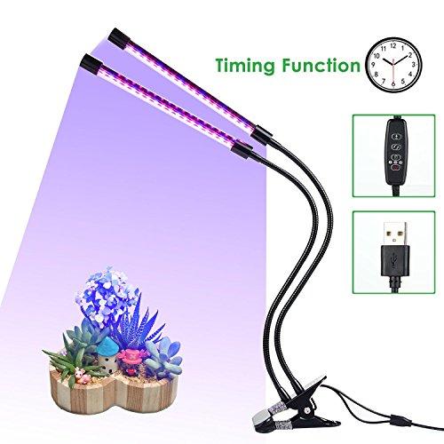 KOBWA LED Wachsen Lichter für Zimmerpflanzen, 18W 36LEDs Rotes Blaues Spektrum 3 Modus Timer Dimmbar 10 Stufen Doppelkopf USB Pflanzenlampe mit Starkem Clip 360 Grad Einstellbar Flexibel Schwanenhals