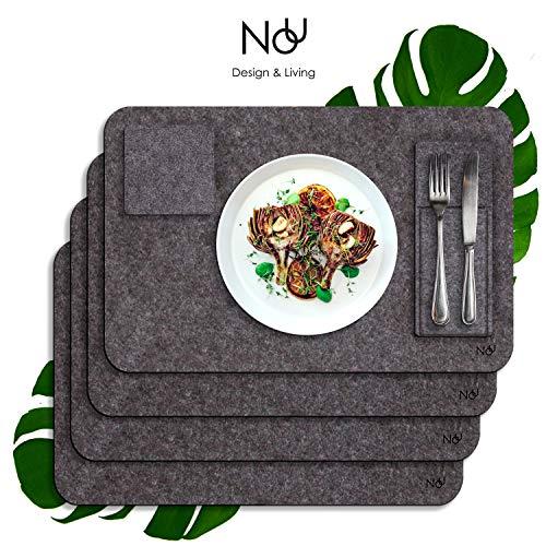 Nou Design Premium Platzset Filz mit Glasuntersetzer & Besteckhalter | Tischset/Untersetzer 4 Personen für Esstisch | Dunkelgraues Design, abwischbar & pflegeleicht
