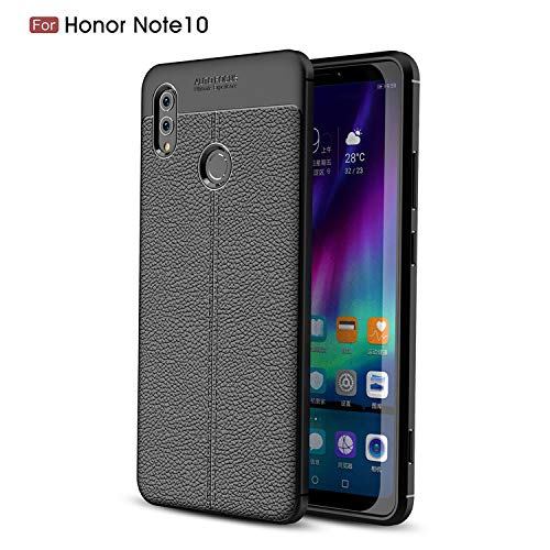 CruzerLite Honor Note 10 hülle, Flexible Slim Case with Leather Texture Grip Pattern and Shock Absorption TPU Cover Schutzhülle für Huawei Honor Note 10 (Black)