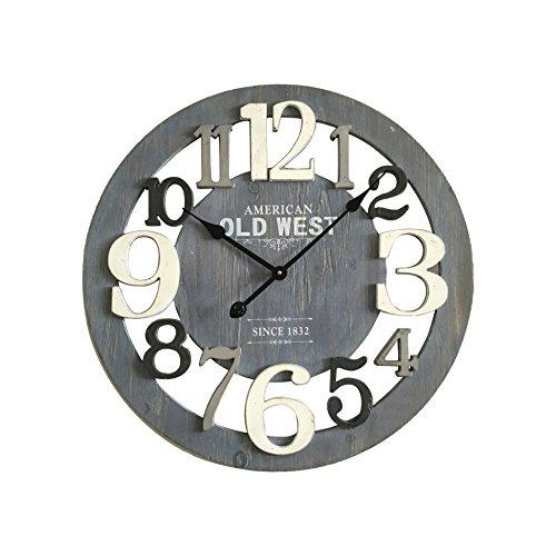 Mobili rebecca® orologio da parete legno mdf grigio design moderno salotto cucina arredo casa (cod. re4988)