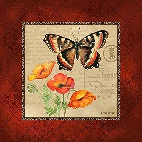 Gregory Gorham – Butterfly and Poppies Kunstdruck (60,96 x 60,96 cm)