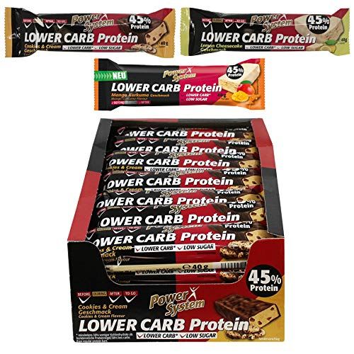 Power System LOW er CARB Protein Riegel mit 45% Eiweiss - Bar 28 x 40g (Mixed - Pack) -