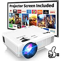DR.Q HI-04 Projector with Projection Screen 1080P Full HD Supported, Upgraded 6000 Lumen Video Projector Compatible with TV Stick PS4 HDMI TF AV USB for Home Cinema & Outdoor Movie, White.