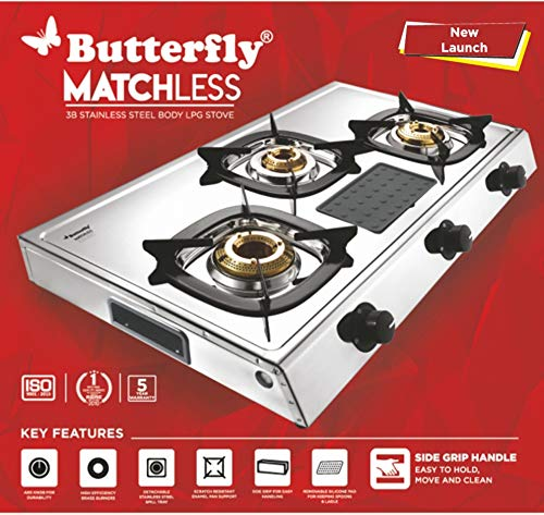 Butterfly Stainless Steel Matchless LPG Gas Stove 3 Burner