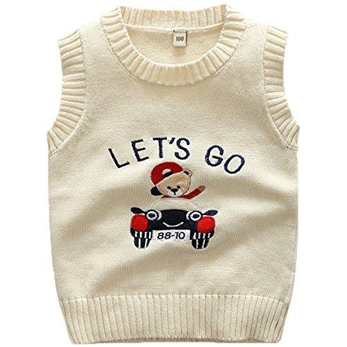 JELEUON Kids Toddler Kids Little Boys Girls Sleevelvess V-Neck Cartoon Bear Cable Knit Pullover Sweater Vest 5T
