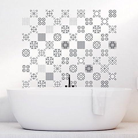 60 Stickers adhésifs carrelages   Sticker Autocollant Carrelage - Mosaïque carrelage mural salle de bain et cuisine   Carrelage adhésif - artistique nuances de gris - 10 x 10 cm - 60 pièces
