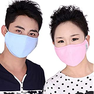 Adult PM 2.5 Pollen Dust Mask Washable Anti-fog Anti Dust Face Mouth Warm Mask Antibacterial Activated Carbon Filter Earloop Mouth Mask Face Mask-pack of 1pcs (blue)