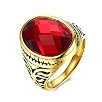 Lekima Ring Oval Gemstone Engraved Flower Pattern Retro Stainless Steel Christmas Wedding Band Jewellery Gift For Men - Red #T 1/2 (Gift Bag Included)
