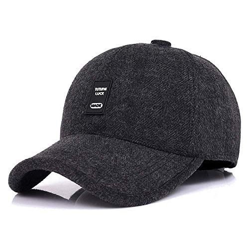 WETOO Baseball Cap Herren Winter Warme Wolle Fleece Mit Ohrenklappen Schirmmütze