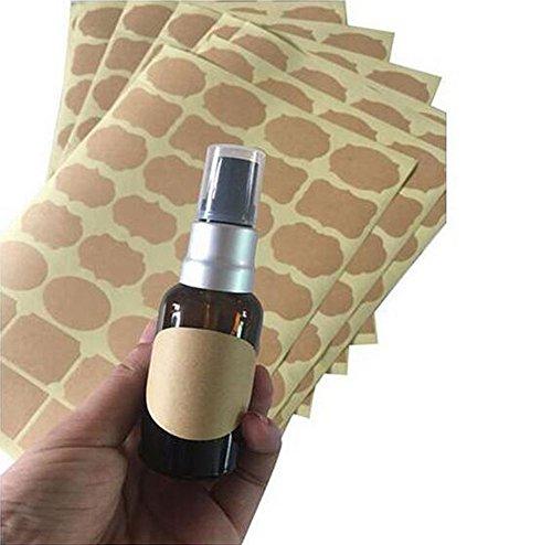 Fancy Shape Aufkleber Etiketten für ätherisches Öl Flaschen Mason Gläser oder Food Storage Container 6 Blatt (192 Stück) sortierte Größe Kraftpapier Tafel Etiketten Aufkleber
