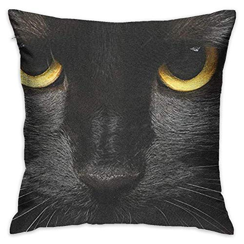 FPDecor Dekorativ Kissenbezug, Throw Pillow Cover Hipster Halloween Black Cat Face Decorative Pillow Case Decor Square 18x18 Inch Cushion Pillowcase