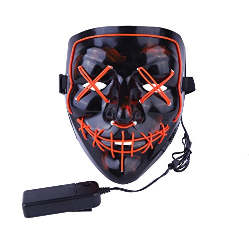 Artbro Scary Halloween LED Light up Maske für Festivel, Cosplay, Kostüm, Thema Parteien Schwarz (Rave Themen Kostüm)