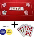 RED TEXAS HOLDEM / POKER CASINO FELT BAIZE LAYOUT + BLINDS + PLAYING CARDS