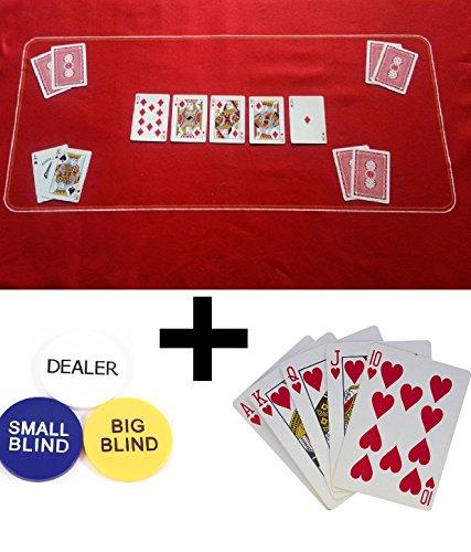 Tapete de póquer, Texas Holdem/fieltro, tamaño + póquer/juego de cartas