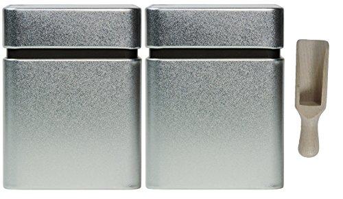 Viva-Haushaltswaren - 2 Vorratsdosen / Gewürzdosen / Teedosen 8x8x10,5 cm, mit zusätzlichem Innendeckel, inkl. einer Holzschaufel ca. 7,5 cm