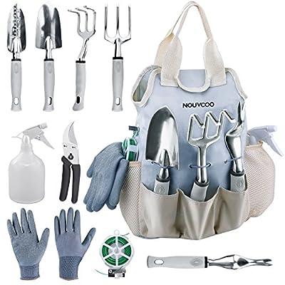 Gartenwerkzeug Set, NOUVCOO Upgraded 10 in 1 Edelstahl Handwerkzeug Kit, langlebige Lagerung Einkaufstasche mit Gartenschere, Schaufel, Gabel, Rechen, Scheren, Weeder, Handschuhe, Wassersprüher, Pflanze Ties