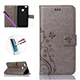 Huawei P9 Mini case, Leather PU Wallet Case Cover , NEWSTARS Folio Flip Cover Print Printing Cell Phone Embossing Mobile Cover Protect Skin Leather Case For Huawei P9 Lite with Kickstand Card Holder ID / Cash Pocket / Card Slots +1Pcs Screen Protector + 1Pcs Stylus Touch Pen Embossing gray