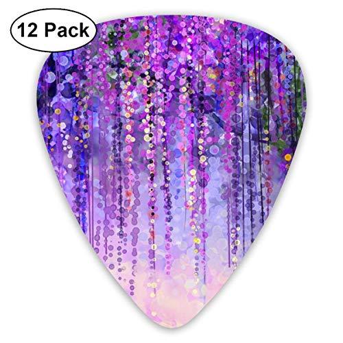 Frühling lila violette Blumen Glyzinien 351 form klassische celluloid plektrum für elektrische akustische mandoline bass 0,46mm 0,73mm 0,96mm (12 count) -