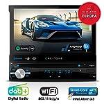 Autoradio Android CREATONE AMG-1201 | 1DIN Naviceiver mit ausfahrbarem Bildschirm | GPS Navigation (aktuelle Europa-Karten mit Radarwarnungen) | DAB+ DigitalRadio | DVD-Player | Touchscreen 7 Zoll (18cm) | USB bis 4TB l Quad-Core 64-Bit CPU Intel Atom x3 4x1,2GHz | 16GB integriert | Full HD 1920x1080 Video Unterstützung | WLAN | Bluetooth mit iOS und Android | MirrorLink | OBD 2 | RDS