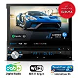 Autoradio Android CREATONE AMG-1201 | 1DIN Naviceiver mit ausfahrbarem Bildschirm | GPS Navigation (aktuelle Europa-Karten mit Radarwarnungen) | DAB+ DigitalRadio | DVD-Player | Touchscreen 7 Zoll (18cm) | USB bis 4TB l Quad-Core 64-Bit CPU Intel Atom x3 4x1,2GHz | 16GB integriert | Full HD 1920x1080 Video Unterst�tzung | WLAN | Bluetooth mit iOS und Android | MirrorLink | OBD 2 | RDS Bild