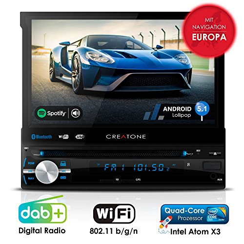 Autoradio Android CREATONE AMG-1201 | 1DIN Naviceiver mit ausfahrbarem Bildschirm | GPS Navigation (aktuelle Europa-Karten mit Radarwarnungen) | DAB+ DigitalRadio | DVD-Player | Touchscreen 7 Zoll (18cm) | USB bis 4TB l Quad-Core 64-Bit CPU Intel Atom x3 4x1,2GHz | 16GB integriert | Full HD 1920x1080 Video Unterstützung | WLAN | Bluetooth mit iOS und Android | MirrorLink | OBD 2 | RDS Dvd-player Auto-bluetooth