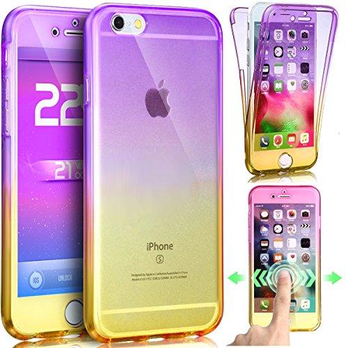 iPhone 8 Hülle,iPhone 7 Hülle,ikasus iPhone 8 / iPhone 7 Hülle TPU Hülle [Full-Body 360 Coverage Protective],Gradient Color Farbverlauf TPU Silikon Hülle Schutz Handy Hülle Case Tasche Etui Bumper Cry LilaGelb