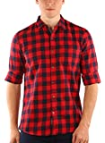 Zotory Mens Casual Full sleeve cotton Checkered shirts Red&Black Color (126-2XL)