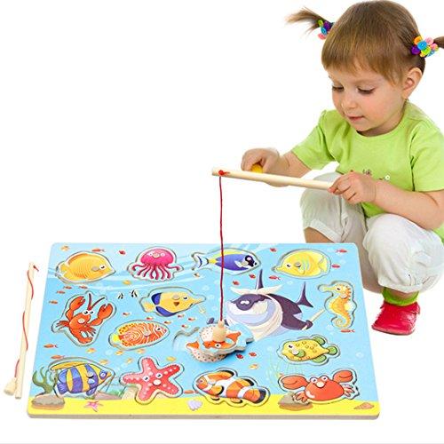 AiSi Fisch Magnet-Angelspiel, Magnetic Angeln Spiel, Holzpuzzle, Lernspielzeug Holz Spielzeug, Geburtstagsgeschenk, Magnet Spielzeug für Kinder Kleinkind Jungen Mädchen ab 3 Jahre