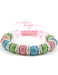 10-Ball Green/Light Blue/Pink Bead Shamballa Bracelet with White Spacers & Pink Crystals on Pink String Ideal Gift for Christmas Birthdays