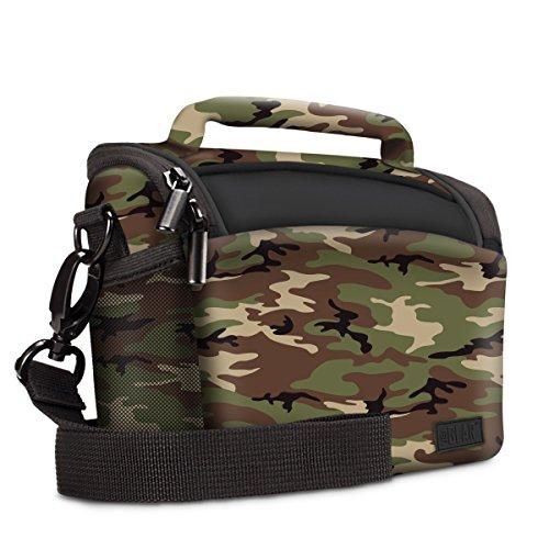 Borsa fotografica a camouflage da USA Gear: custodia per fotocamera compatta/mirrorless, Materiale di neoprene, con copertura antipioggia e divisore regolabile, adatto per Nikon Coolpix P900, Canon PowerShot SX60, Panasonic Lumix FZ80 e altro