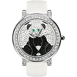 JSDDE 3ATM Waterproof Japanese Quartz Watch Women Men Crystal Rhinestone Panda Watch White Leather Band