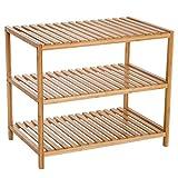 homcom Scaffale Portaoggetti in bambù per Bagno Cucina Balcone con 3 Ripiani Leggero e Resistente 65 × 40 × 55cm