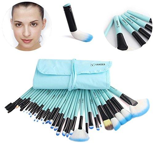 BZLine® Ensemble de Pinceau de Maquillage 32 Pcs + étui, pinceaux de Beauté Cosmetic Tools-Beginners, Pinceau de Contour des Yeux, Pinceau en Poudre (Bleu)