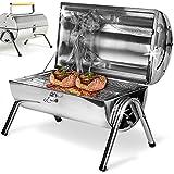 Barbecue portable double plaque grill - acier inoxydable - poignée ventilation